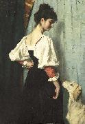 Therese Schwartze Young Italian woman with a dog called Puck. oil painting reproduction